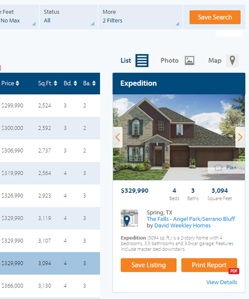 Close up of Home Details on a results page.